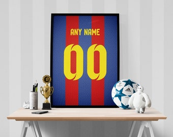 FC Barcelona Soccer Jersey Poster - Print Personalized Select ANY Name & ANY Number, Sports Art Print, Football Poster