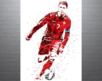 Cristiano Ronaldo Portugal World Cup Soccer Poster, Sports Art Print, Football Poster, Watercolor Contemporary Abstract Drawing Print