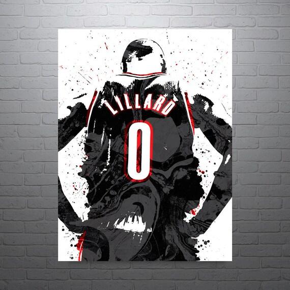 Blazers Portland Posters: Damian Lillard Portland Blazers Sports Art Print