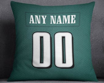 Philadelphia Eagles Custom Football Pillow Front and Back 18 x 18 - Print Personalized Select ANY Name & ANY Number