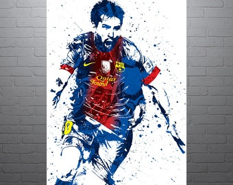 Lionel Messi FC Barcelona Soccer Poster, Sports Art Print, Football Poster, Watercolor Abstract Drawing Print, Modern Art, Argentina