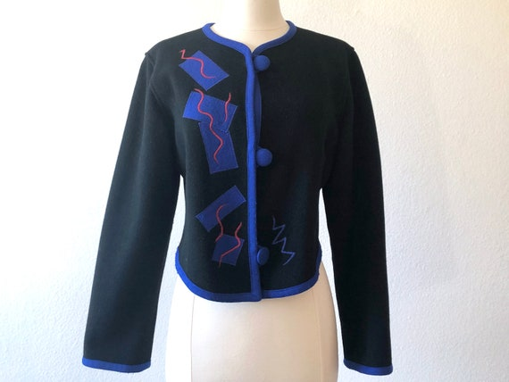Cropped Black Jacket with Red & Blue Abstract Patt