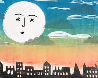 Celestial print, moon print, night sky print, astronomy art, La Luna, moon illustration,