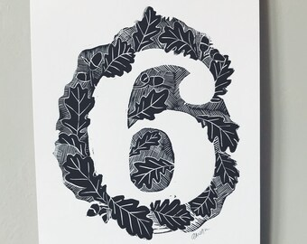 House number print, linocut number print, typography print, type print, number art print, number wall art