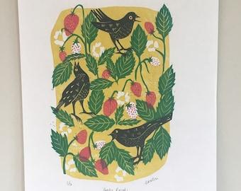 Blackbird print, wall art, lino print, home decor, handprinted, printmaking, art print