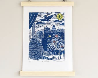 Linocut Cat print, landscape art, Nottingham gift, lino print cat, cat gift