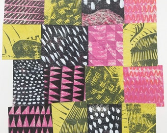 Original collage, abstract collage, wall art, Handprinted artwork, original art