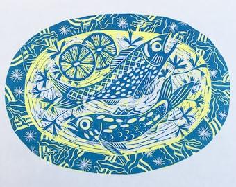 Linocut fish print, fish gift, fishing, food, fish supper, home decor, wall art, hand printed, lino, original prints