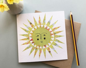 Sun card, sun greeting card, birthday card, friendship card, anniversary card, blank card
