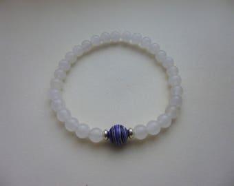 White Jade bracelet/striped focal bead