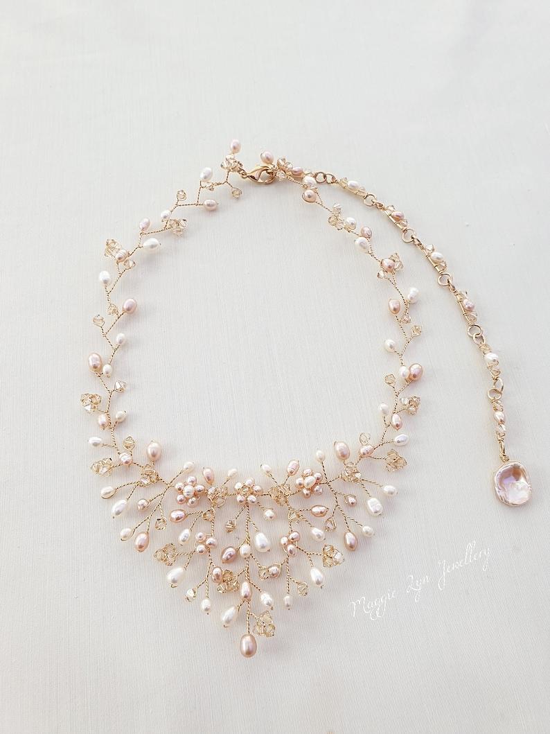 gold gilt Bridal jewelry set Autumnal V drop vine matching UK pink ...
