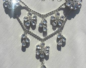 Bridal wedding hair piece, head piece, hair drape, chain Diamante crystal rhinestones pendants, plait updo headdress, jewellery, handmade uk