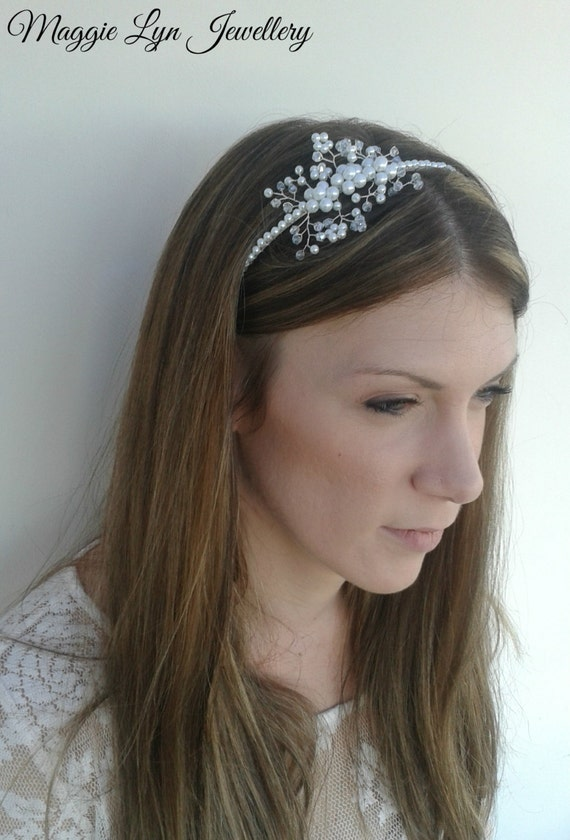 Stunning bridal side headband with Swarovski crystals and  3f417977490