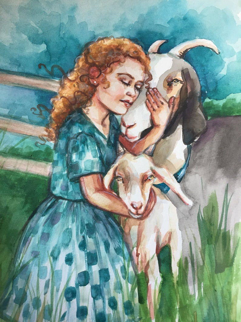 d65c44ec766c Little Goat Lady Original Watercolor