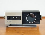 Vintage Retro Flip Clock Radio by Sharp - Mid Century Modern Model FXC-34 Space Age MCM Two tone Brushed Aluminum and Plastic