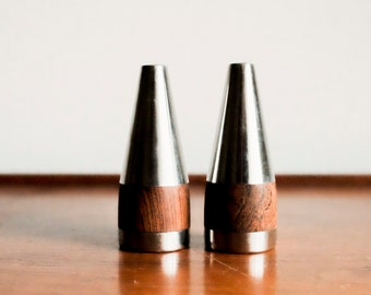 Danish Rosewood Steel Salt and Pepper Shakers