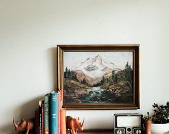 Vintage Mountain Oil Painting - Framed painting, mountains, Northwest, Mount Rainier Washington, oil painting, antique painting