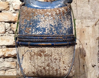 Basket traditional old made hand, bag of bamboo with asa indonesia