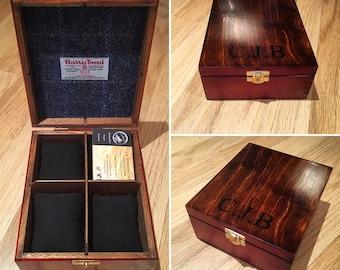 Bespoke 4 piece watch box with Harris Tweed lining.