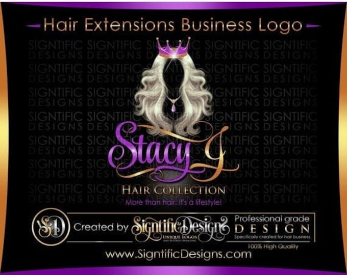 Hair Extensions Logo, Hair Bundle Business Logo, Virgin Hair Logo, Hair Logo, Crown Hair Logo, Hair Tags Logo Design, Wig Business Logo
