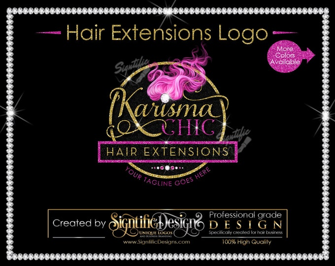 Hair Bundle Logo, Hair Business Logo, Logo Design, Flying Hair Logo, Pink hair Logo, Glitter Bling Logo, Shimmer Logo, Packaging Logo Design