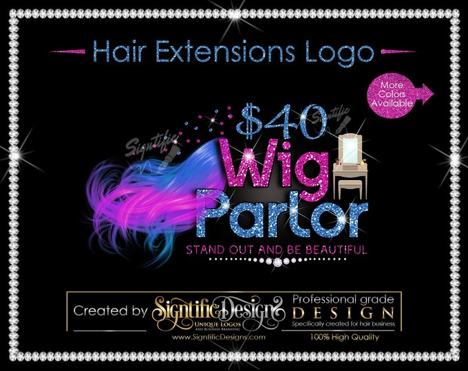 Hair Extensions Logo, Hair Bundle Business Logo, 2 Color Hair Logo, Flowing Hair Logo, Glitter Hair Logo, Bundle Glitter Logo, Shimmer Logo