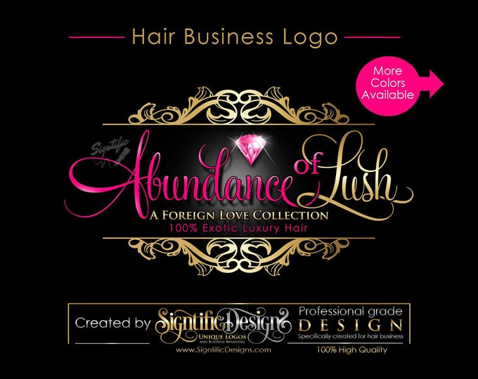 Hair Extensions Logo, Hair Logo Design, Hair Packaging Logo, Hair Bundle Logo, Hair Tag Logo, Diamond Logo, Virgin Hair Logo, Bling Logo