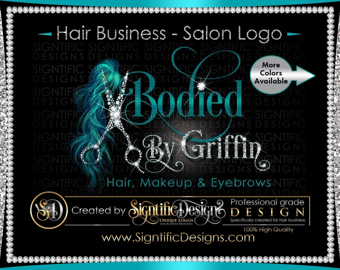 Hair Salon Logo, Hair Extensions Logo, Diamond Scissors Logo, Bling Logo, Glitter Logo, Hair Branding, Bundle Logo, Shimmer Logo, Brand Logo