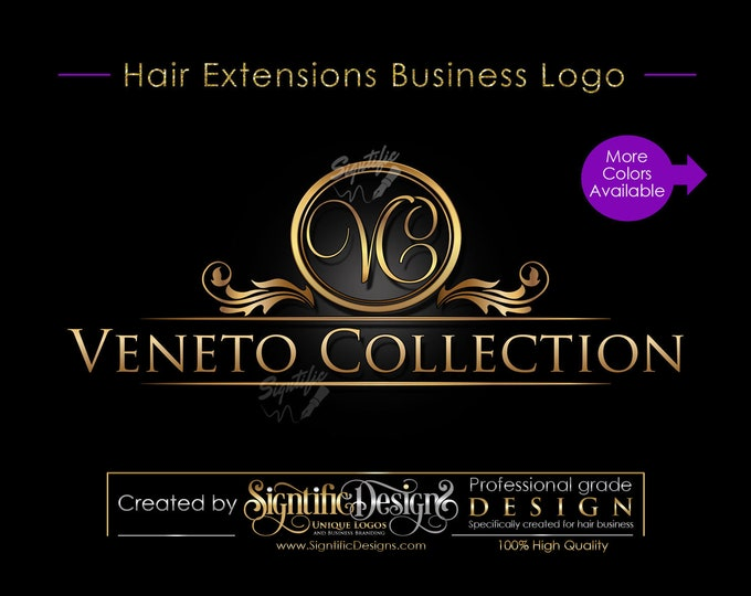 Hair Extensions Logo, Hair Collection Logo, Hair Business Logo, Gold Logo, Vintage Logo, Hair Packaging Logo, Ornament Logo, Hair Branding