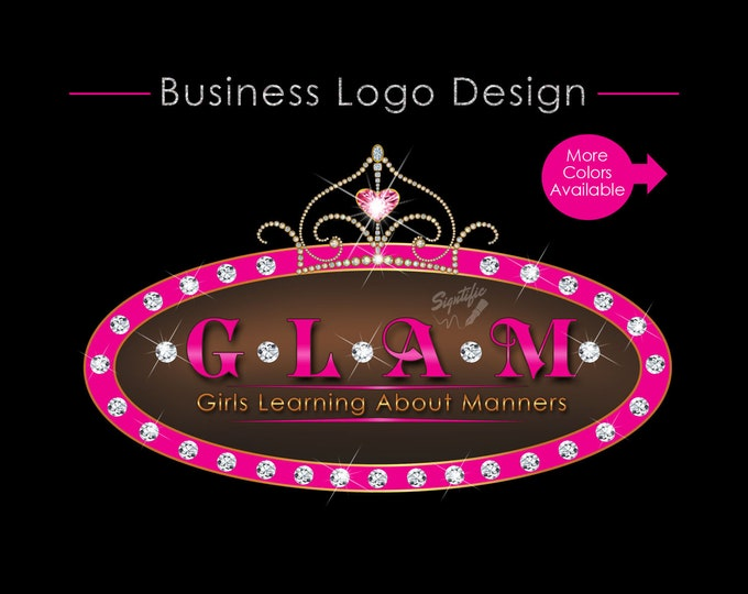 Custom logo Design, Tiara Logo, Bling Diamond Logo, Bling Tiara Logo, Logo Design, Design Logo, Oval Logo Diamonds, Bling Crown Logo Design