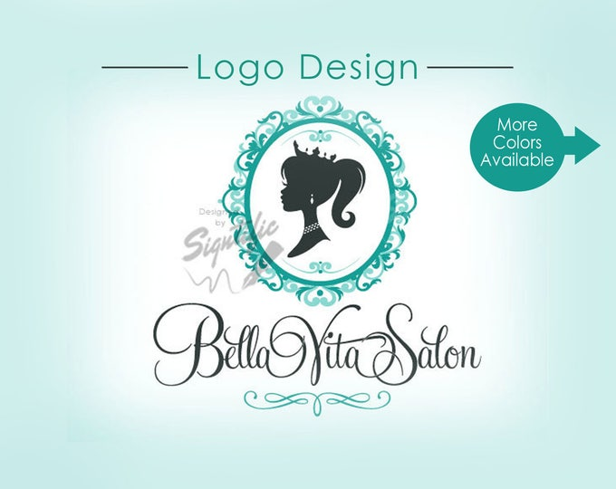 Custom Logo, Hair Salon Logo, Vintage Logo, Silhouette Logo, Decorative Frame Logo, Princess Logo, Crown Woman Silhouette Hair Logo Design
