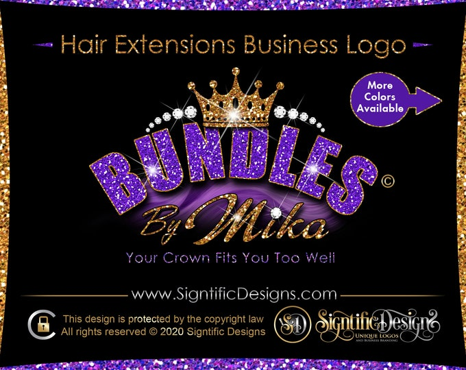 Hair Company Logo, Hair Extension Logo, Diamond Glitter Logo, Bling Crown Logo, Glitter Hair Logo, Hair Bundle Logo, Hair Wig Logo, Branding