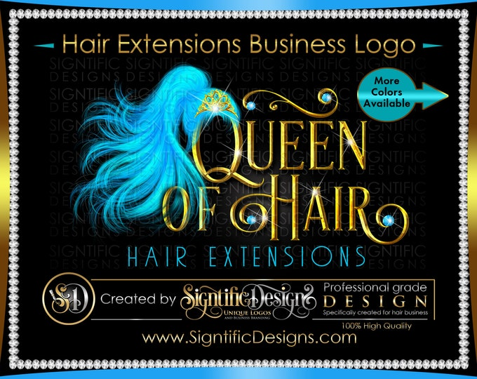 Hair Extension Logo, Hair Business Logo, Wig Tiara Logo, Hair Bundle Logo, Bling Diamond Logo, Hair Packaging Logo, Ponytail Extension Logo