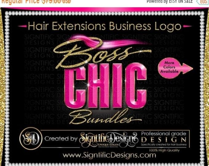 Hair Extensions Logo, 3D Hair Logo, Hair Business Logo, Bundle Logo, Hair Wrap Logo, Glitter Logo, Wig Logo, Pink Hair Logo, Hair Branding
