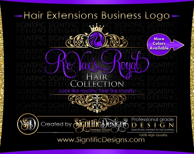 Hair Extension Logo, Hair Logo Design, Salon Logo, Hair Collection Logo, Gold and Purple Logo, Crown Logo, Vintage Frame, Virgin Hair Logo