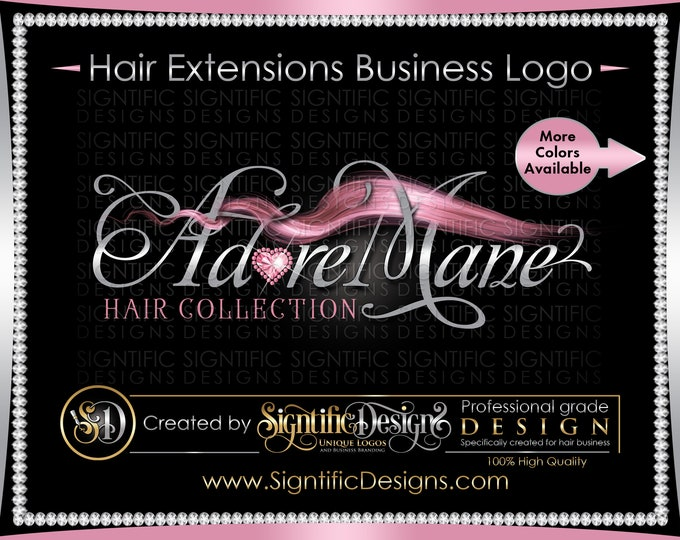 Hair Extensions Logo, Hair Bundle Logo, Hair Business Logo, Flowing Hair Logo, Packaging Logo, Hair Tag Logo, Bundle Wrap Logo, Hair Brand