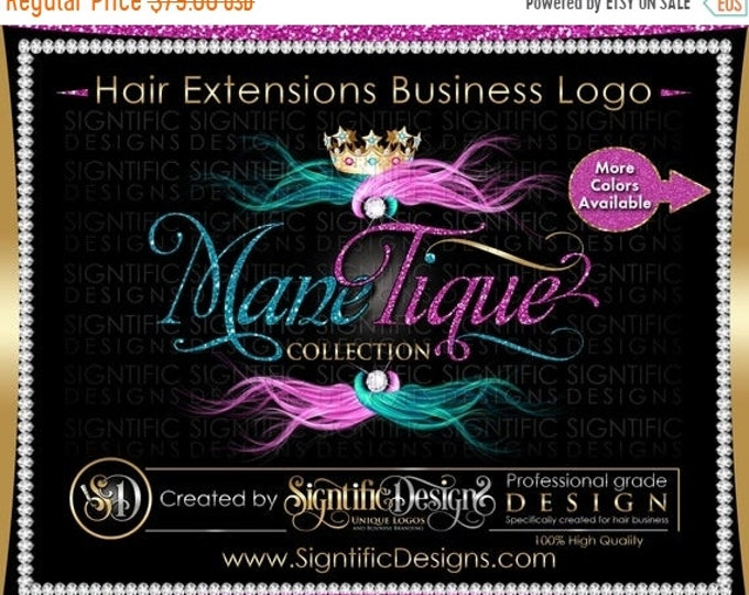 Hair Extensions Logo, Hair Glitter logo, Hair Branding, Bundle Logo, Bling Hair Logo, Flowing Hair Logo, Packaging Logo, Hair Business Logo