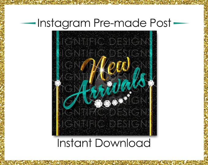 Instant Download, Hair Extensions Post, New Arrivals, Instagram Post, Hair Bundle Flyer, Gold Blue Flyer, Digital Flyer, Instagram Flyer