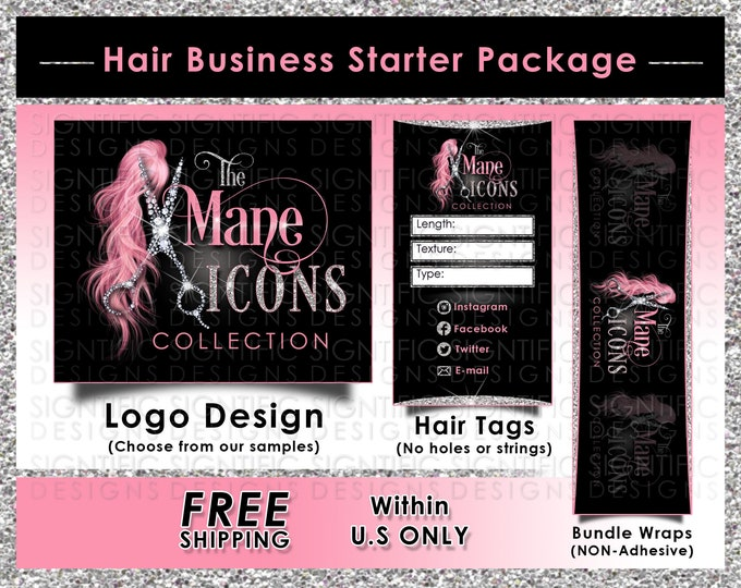 Hair Business Startup, Hair Business Package, Hair Extension Branding, Logo, Bundle Wraps, Hair Tags, Hair Brand, Hair Packaging Branding