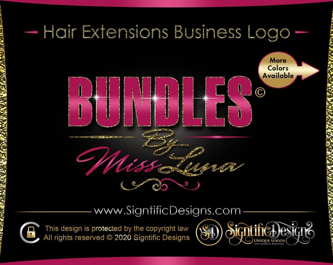 Hair Company Logo, Hair Extension Logo, Bundle Glitter Logo, Bling Crown Logo, Glitter Hair Logo, Hair Bundle Logo, Hair Wig Logo, Branding