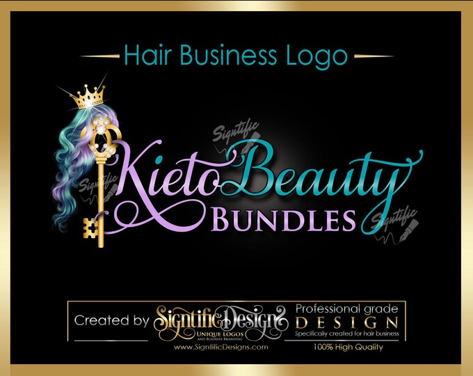 Hair Extensions Logo, Hair Company Logo, Bling Key Logo, Hair Business Logo, Packaging Logo, Bling Logo, Logo for Hair, Hair Company Brand