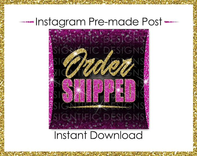 Instant Download, Order Shipped, Glitter Gold Hot Pink, Hair Extensions Flyer, Instagram Post, Digital Online Flyer, Social Media Post