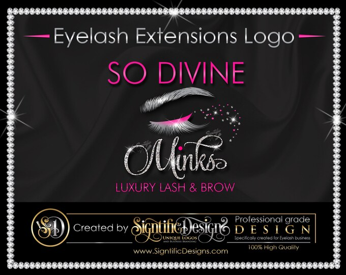 Eyelash Logo, Lash Logo, Eyelash Extension Logo, Eye Lash Logo, Lash Branding, Eyelash Business Logo, Glitter Bling Logo, Bling Eyelash Logo