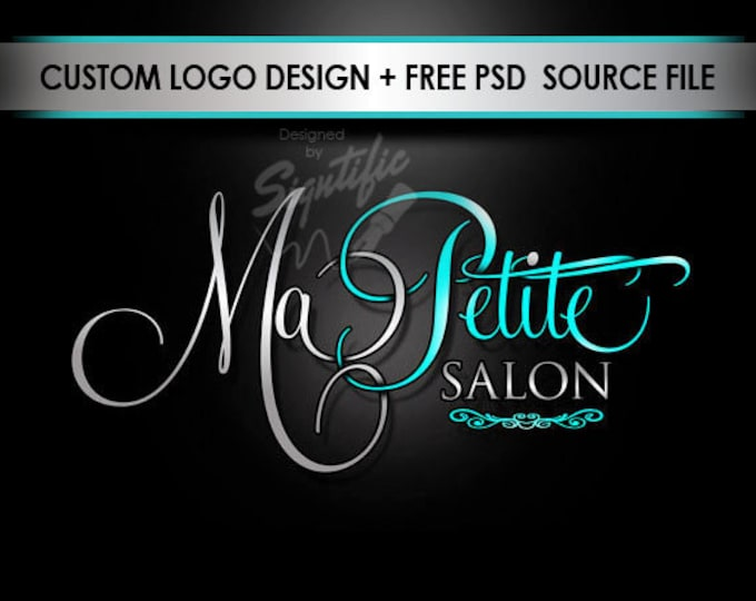 Hair Salon Logo, Salon Sign Logo, Teal and Silver Logo, Hair Salon Logo for Website, Hair Logo for Business Card, High Resolution Logo