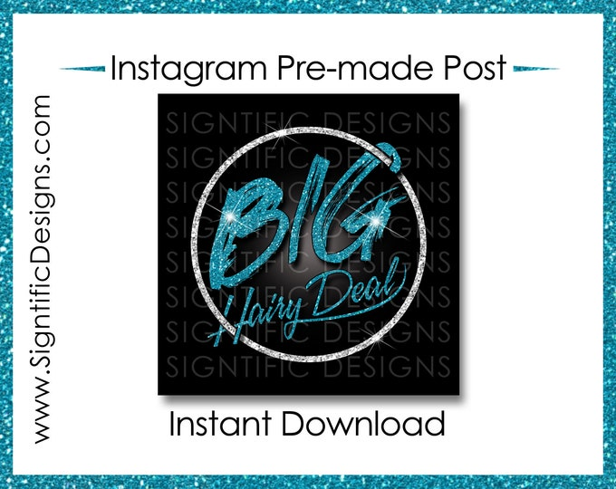 Instant Download, Big Hair Deal, Hair Extensions Flyer, Glitter Silver Teal, Instagram Post, Digital Flyer Post, Bundle Flyer, Hair Phrase