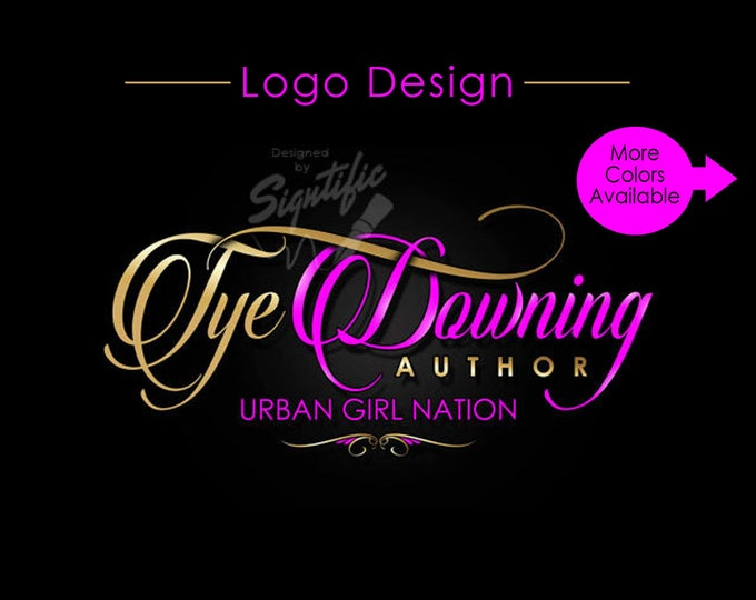 Name Text Logo, Custom Signature Logo Design in Gold and Pink Lettering, Business Branding Logo, Author Logo in Any Colors, Ooak Logo