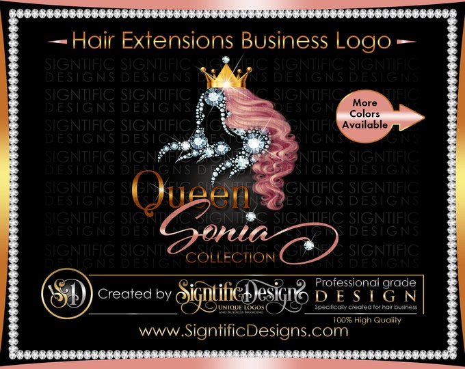 Hair Extensions Logo, Hair Bundle Logo, Diamond Hair Logo, Hair Business Logo, Branding Logo, Hair Packaging Logo, Crown Logo, Bling Logo