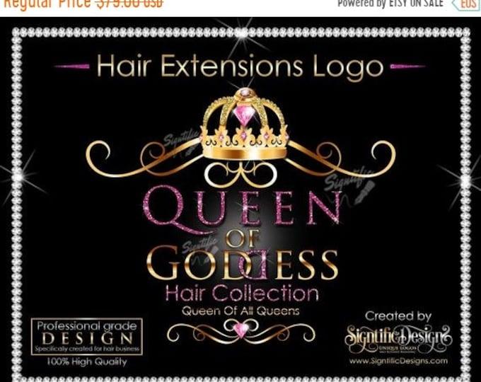Hair Extensions Logo, Packaging Logo, Hair Bundle Logo, Glitter Hair Logo, Crown Logo, Hair Branding Logo, Virgin Hair Logo, Shimmer Logo