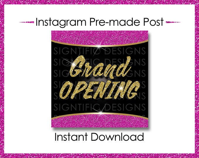 Instant Download, Grand Opening, Hair Extensions Flyer, Instagram Post, Gold Hot Pink Flyer, Online Flyer, Instagram Flyer, Glitter IG post
