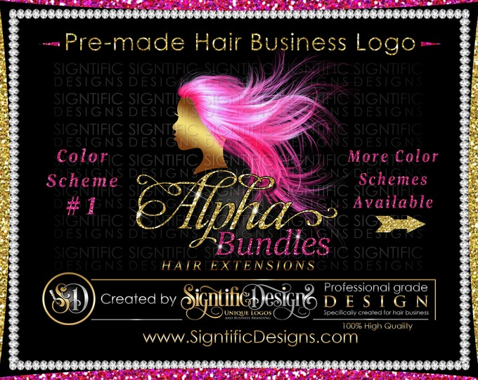 Hair Extensions Logo, Hair Business Logo, Flowing Hair Logo, Virgin Hair Logo, Hair Bundle Logo, Premade Hair Logo, Glitter Hair Logo Design